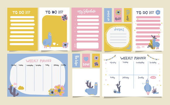 Cute set of weekly planner to do list and schedule with alpaca and llama. Editable flat vector illustration. Scandinavian childish style.