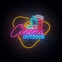 Outdoor cinema neon sign, drive-in movie theater with cars on open air parking logo neon, emblem. Vector illustration