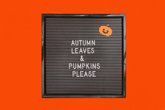 Inspirational quote autumn leaves and pumpkins please on black letterboard on orange background.