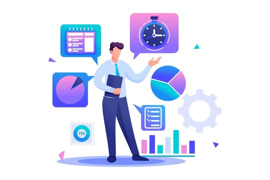 Young businessman is engaged in time management. Flat 2D character. Concept for web design