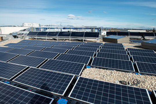 Plantation of modern solar batteries placed on rooftop of building during sunny daytime