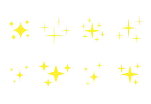 Yellow stars icons set. Golden glowing fireworks symbols collection. Bright stars twinkle vector illustrations