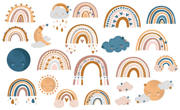 Seamless pattern of hand drawn autumn rainbow, clouds and raindrops in honey, yellow and brown colors on white background, vector illustration
