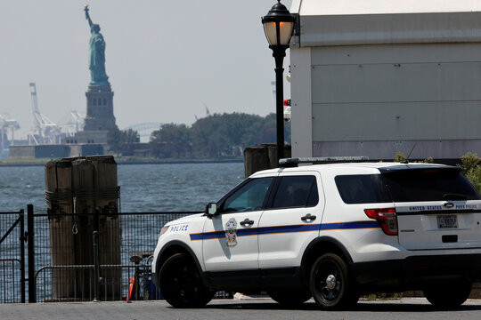 U.S. Park Police in Battery Park in Manhattan across from Statue of Liberty following outbreak of the coronavirus disease (COVID-19) in New York