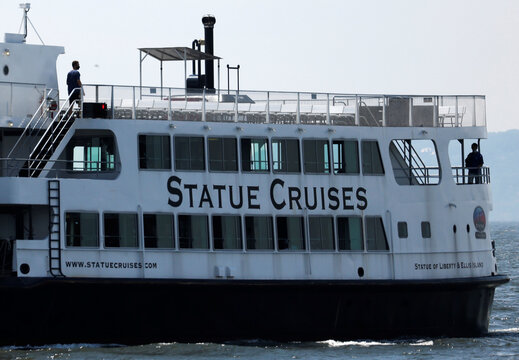 Nearly empty Statue of Liberty ferry boat returns to Manhattan following outbreak of the coronavirus disease (COVID-19) in New York