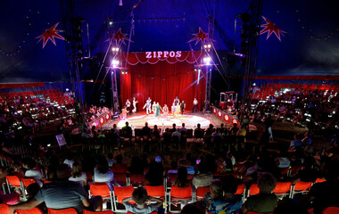 """People watch show called """"Rebound! at the Zippos Circus on its opening night, in Brighton"""