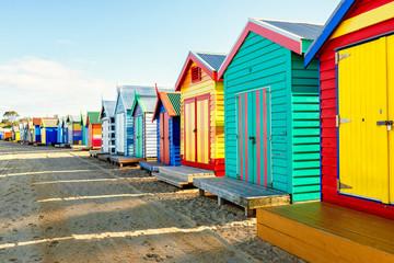 Cottages at Brighton Beach against sky, Melbourne, Australia