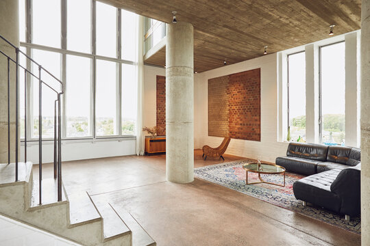 Interior of a spacious loft flat