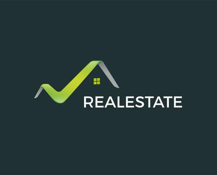 minimal real estate logo template - vector illustration