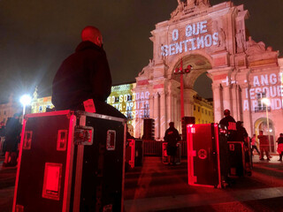 Live event workers protest in demand of more government support amid the coronavirus disease (COVID-19) pandemic in Lisbon