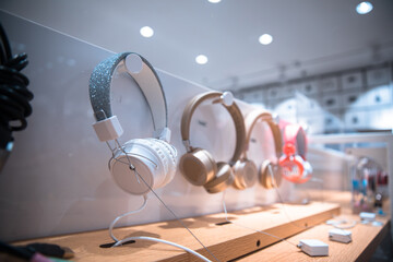 Modern headphones in store