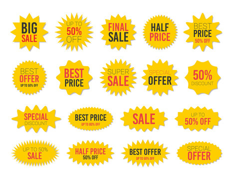 Yellow sale starburst sticker set - collcetion of stared labels and badges with best offer and discount signs.