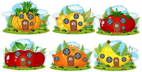 Set of fruit fairy house