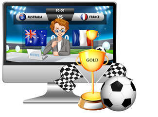 Football match news on computer screen with trophy and football isolated
