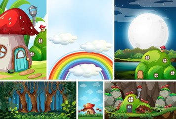 Six different scene of fantasy world with beautiful fairies in the fairy tale and ant with antnest, blank sky with rainbow, forest at night scene