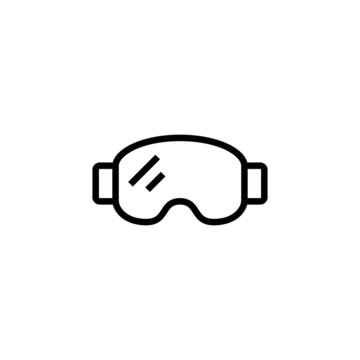 Winter Mask Icon ski goggles  in black line style icon, style isolated on white background
