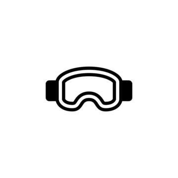 Winter Mask Icon ski goggles in black flat glyph, filled style isolated on white background