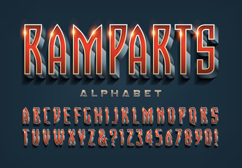 A High Tech, Movie Title, or Video Game Icon Alphabet: Ramparts is a Stylish Condensed Font with 3d and Shaded Gradient Effects with Shiny Highlights. Isolated Letters and Numbers for Logo Designs.