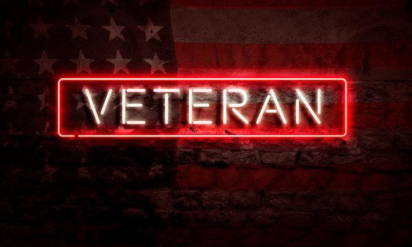 Veteran Patriotic Neon Sign On Brick American Flag