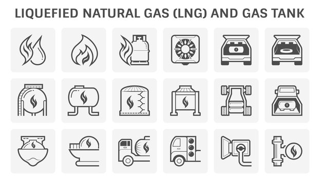 liquefied natural gas or LNG gas and gas tank vector icon set design.