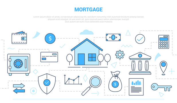 mortgage concept with icon set collection like house and finance money campaign for website homepage template landing page banner with outline style