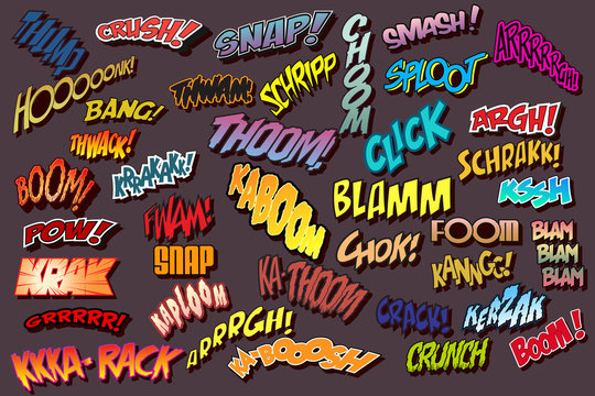 Comic Book Illustration Style Sound Effects, Comics Onomatopoeia Words