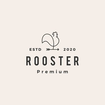 rooster arrow hipster vintage logo vector icon illustration