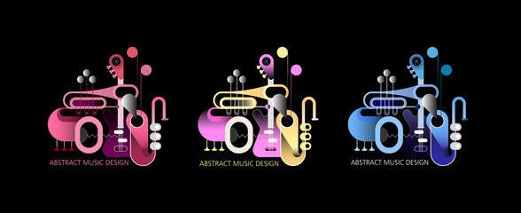 Three various colored designs isolated on a black background concept music composition. Vector illustration with guitar, saxophone and trumpets.
