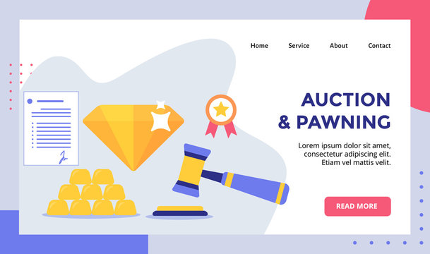 Auction and pawning gavel background of diamond gold certificate for web website home homepage landing page template banner with modern flat style
