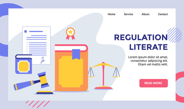 Regulation literate book campaign for web website home homepage landing page template banner with modern flat style