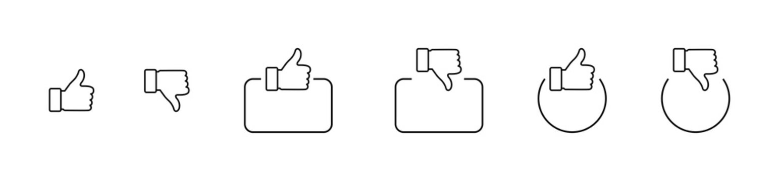 Like. Thumb up and down in linear design. Thumb up and thumb down with square and circle. Like vector icons. Line icons, isolated. Vector illustration