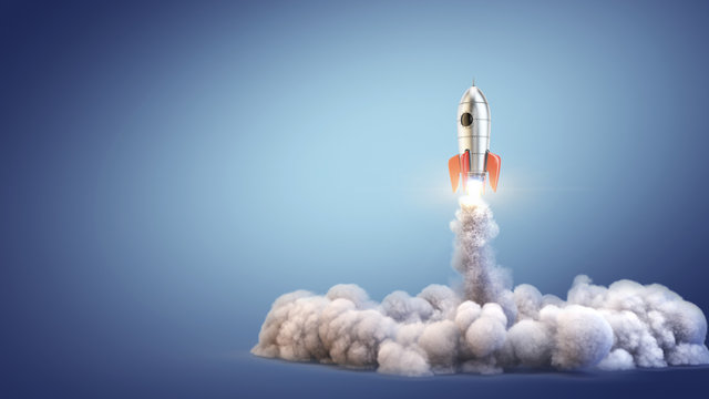 Launch Rocket - startup concept - 3d rendering of 3d rocket launch.