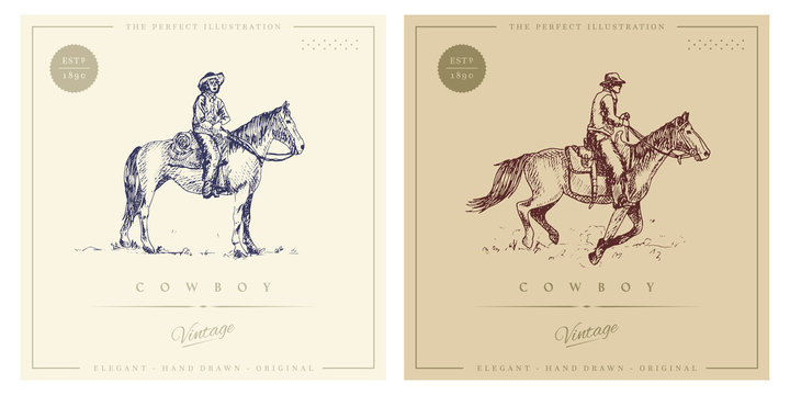 Cowboy on horse retro vintage illustration. For logo and print