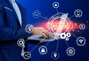 Modern technologies. Businessman using laptop and big data pictograms on trnsparent screen. Collage Papier Peint