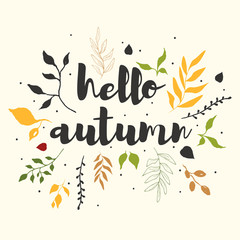 Printed roller blinds Retro sign hello autumn card