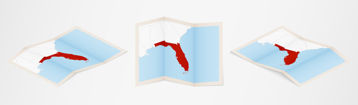 Folded map of Florida in three different versions.