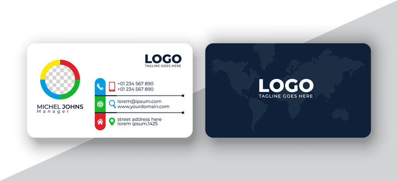 Double-sided  simple business card design with user interface. Creative and Clean visiting card. modern blue business card print template.