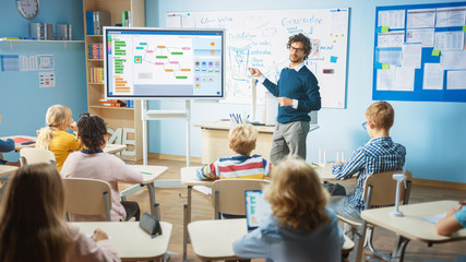 Elementary School Computer Science Teacher Uses Interactive Digital Whiteboard to Show Programming...