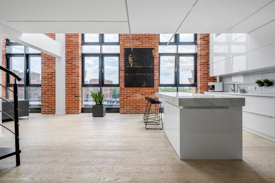 Spacious kitchen in loft apartment