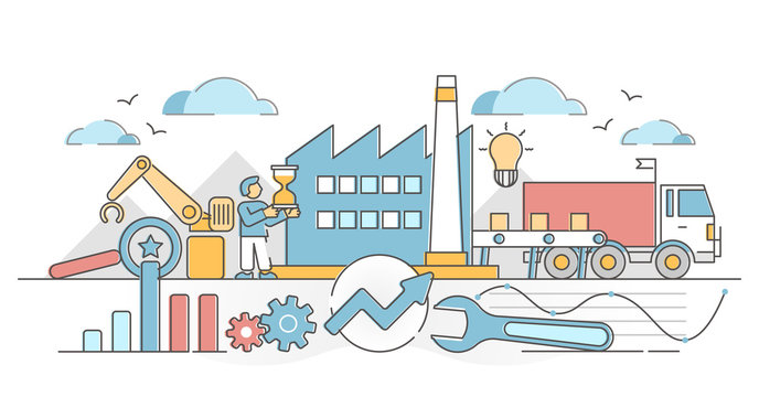 Lean manufacturing as company production method and strategy outline concept
