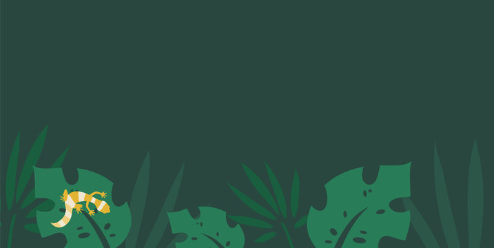Tropical background with beautiful leaves and plants and small lizard. Leopard gecko flat illustration. - Vector