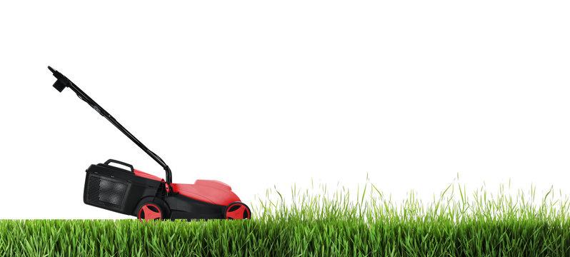 Modern garden lawn mower cutting green grass, white background. Banner design
