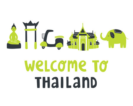 """Cute vector illustration with Thailand attractions and text lettering """"Welcome to Thailand"""". Buddha statue, king palace, elephant, scooter, swing. Asia travel concept. For sticker, blog, print, poster"""