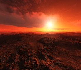 Tuinposter Rood paars Alien landscape, Beautiful martian landscape at sunset, alien panorama, 3D rendering