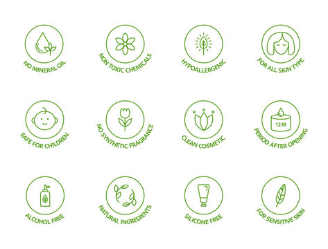 Organic cosmetic line icons set. Natural ingredients badges. GMO free emblems. Hypoallergenic, safe for children, clean cosmetic, non toxic. Vegan, bio food. Vector illustration