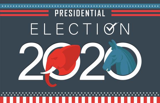American Presidential Election 2020 Banner. US Election campaign between democrats and republicans. Electoral symbols of both political parties.