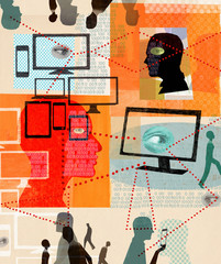 Eyes watching network of people and digital devices