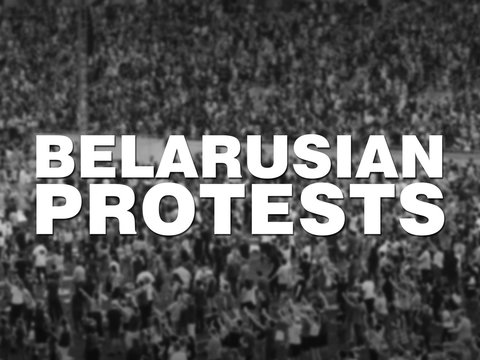 Belarusian Protests sign. Off-focus crowd background. Represents current political turmoil and unrest in Belarus in 2020.