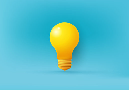pedestBusiness creative idea, Inspiration, New idea and Innovation rendering concept vector with light bulb on minimal background. light bulb on bright Blue background in pasal modern 3d studio pastel