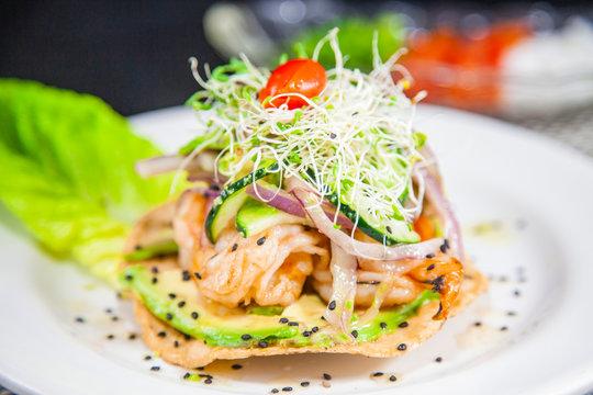 Tostada de Camarones, Alta cocina Mexicana